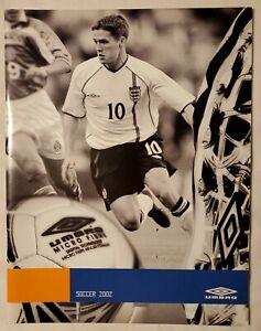 2002 UMBRO USA SOCCER CATALOG - ENGLAND'S MICHAEL OWEN COVER, FUTBOL