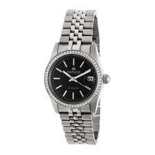 Empress Constance Automatic Women's Silver Bracelet Watch w/ Date - Black EM1502