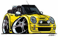 New Mini Cooper Convertible Cartoon car t-shirt -Yellow car image on white shirt