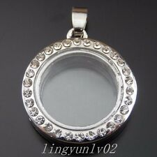 2X Silver Plating Crystal Round Floating Alloy Pendant Charms Jewelry Finding