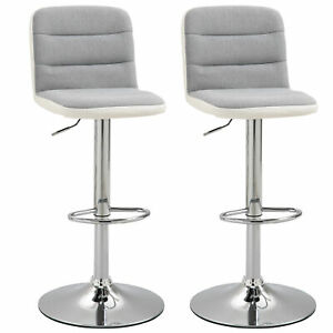 Modern Bar Stool Set Kitchen Dining Room Counter Chair Padded Seat Armless Grey