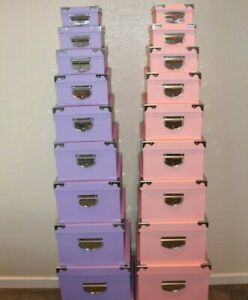 Set Of 10 Storage Boxes With Handles Different Sizes 2 Colour Types Home Office