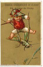 CHROMO.  Enfant . Sauterelle . Féerique . Fée . Child . Fairy . Grasshopper
