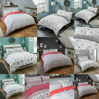 Brushed 100% Cotton Flannelette Xmas Christmas Duvet Cover with Pillow Cases
