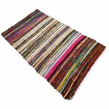 DARI VINTAGE CHINDI COTTON GIFT INDIAN 5X7 FEET HANDMADE RAG WOOVEN MULTI THROW
