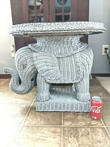 Wicker Elephant Side End Table Stand Removable Tray Boho Eclectic Gray Accent