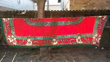 "Print Red Green Christmas Teddy Bear Rectangle 100""X60"" Tablecloth Free Shipping"