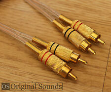 Gold Plated RCA Phono Lead Braided - Premium Quality Interconnect HiFi Cable 1m