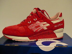 Asics running shoes gel-lyte iii size 7.5 us men red/cream new