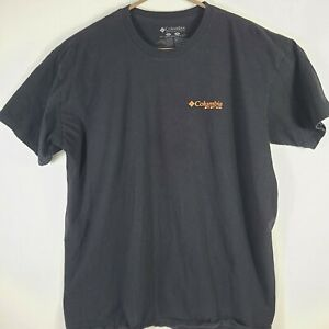 Columbia PFG Shirt XL T Shirt Black Orange Logo Short Sleeve EUC