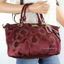 NWT Coach Madison Dotted OP Art Sophia Satchel Shoulder Bag 15935 Crimson Red
