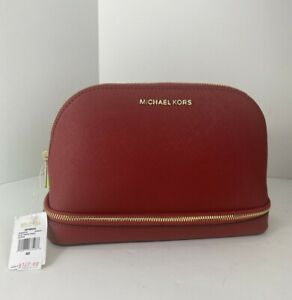 New Michael Kors Large Cosmetic Bag Scarlet Red Leather Travel Pouch $167 M3