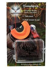 Medina Game Calls Tomahawk Two Reed Half Moon V cut Turkey Mouth Call w/case!
