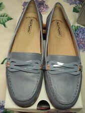 hush puppies flat loafers  non slip leather NWT $139.99 denim mauve