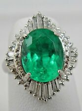 Estate Platinum 5.81cts Natural Fine Colombian Emerald & Diamond Engagement Ring