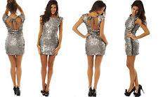 BNWT Charas Giselle Gunmetal Metallic Sequin Open Back Dress RRP £ 159