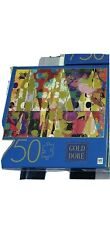 """NEW 750 Piece Jigsaw Puzzle Triangles Gold Dore MB Puzzles Hasbro 27"""" x 20"""""""