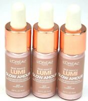 LOT OF 3 New L'Oreal True Match Lumi Glow Amour Glow Boosting Drops 507 Daybreak