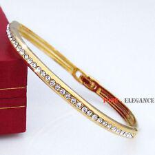 9ct 9k yellow gold GF women solid bangle bracelet made with swarovski