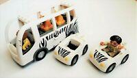 Lego Duplo Lot Of - Zoo Mobile, 2 Cars & 2 Bears & 2 Minifigures