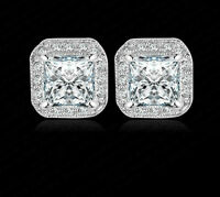 9K  WHITE GOLD FILLED SQUARE STUD EARRINGS MADE WITH 1 CARAT SWAROVSKI CRYSTALS