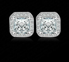 9K  WHITE GOLD FILLED STUD EARRINGS MADE WITH 1 CARAT SWAROVSKI CRYSTALS