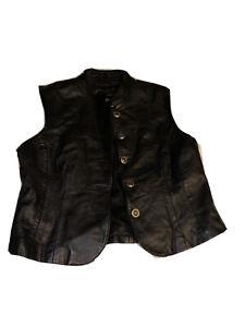 Saguaro Women Black Genuine Leather Vest 38 Inch Bust Size XL