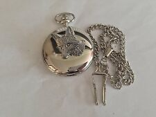 A6 Fox Head 1   polished silver case mens GIFT quartz pocket watch fob