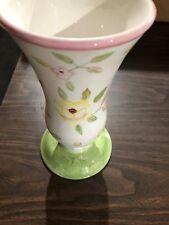 """Vintage Ftd 10"""" Pastel Flowers Green Base Vase By Tracy Porter Porcelain Ceramic"""