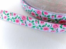 Webband Zierband Rosen Blüten Blumen weiß  rosa Bordüre Borte 15 mm