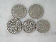 15 et 20 kopeks 1902 1903 1905 1909 en argent Russie Russian rouble