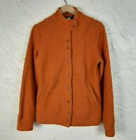 IBEX Womens Size L Orange Carrie Button Up Merino Wool  Jacket