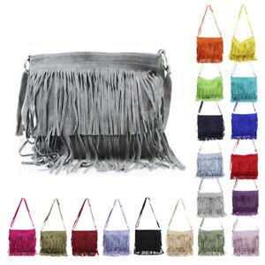 Womens Tassel Fringed Suede Leather Zip Handbag Crossbody Messenger Shoulder Bag