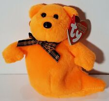 "TY Halloweenie Beanies Baby ""HAUNTED"" Halloween Orange Ghost ORNAMENT - MWMTs!"
