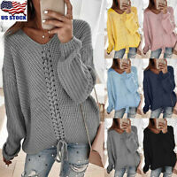 Womens Lace Up V Neck Long Sleeve Sweater Loose Knit Pullover Sexy Jumper Tops