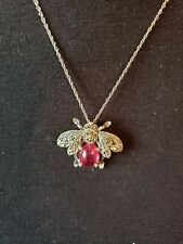 Sterling 925 Silver Bee Necklace/Brooch Red Ruby & Silver Marcasite