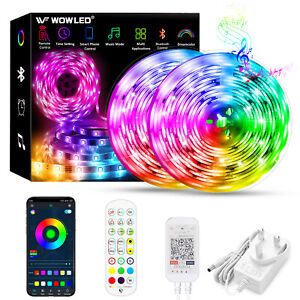 WOWLED 10M Bluetooth RGB LED Strip Light Dreamcolor Music adapter Full Set Light