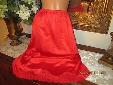 "VINTAGE Vanity fair cherry red nylon half slip petticoat lacy 24-36"" waist"