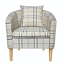 Tartan Fabric Tub Chair Armchair with Cushion Lounge Living Dining Room Hotel