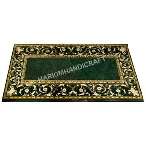"""60""""x36"""" Green Marble Dining Table Top Inlay Floral Handmade Home Deco Art E588A"""