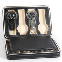 Portable 2 4 8 Grids Travel Watch Box PU Leather Zipper Storage Case Organizer