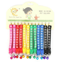 12PCS/Lot Dog Collars Pet Cat Puppy Buckle Nylon Collar with Bell 6 Colors ! +