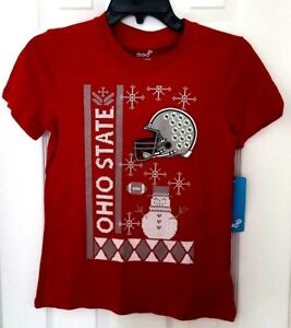 OHIO STATE BUCKEYES Youth T Shirt Size Medium 10/12 Ugly Christmas Holiday Style