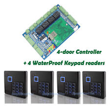 TCP/IP 4 Door Entry Access Controller+ 4 Keypad EM RFID readers For Security