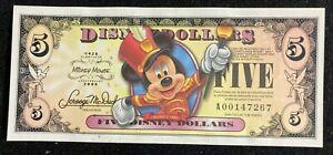 Mickey Disney Dollar $ 5 D00129424 Series 6digits 80th Anniversary 2008 N/M