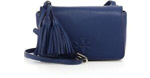 NWT IN PLASTIC Tory Burch Thea Mini Leather Crossbody bag TIDAL WAVE BLUE $395