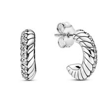 AUTHENTIC-GENUINE PANDORA Pavé Snake Chain Pattern Hoop Earrings 299091C01