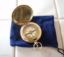"BRASS POCKET COMPASS in pouch, bag ~ NEW~  2"" diameter STEAMPUNK or REENACTMENT"