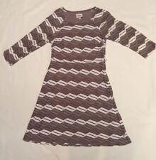 Beige by ECI Dress Taupe Cream Beige Print A Line Size 12 Womens