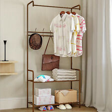 Standing Hanger Clothes Hat Shoes Tower Rack Clothes Rail Stand Shelf w/ hooks